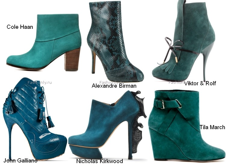 Среди цветовых предпочтений обувных дизайнеров в фаворе оказались аквамариновые оттенки.