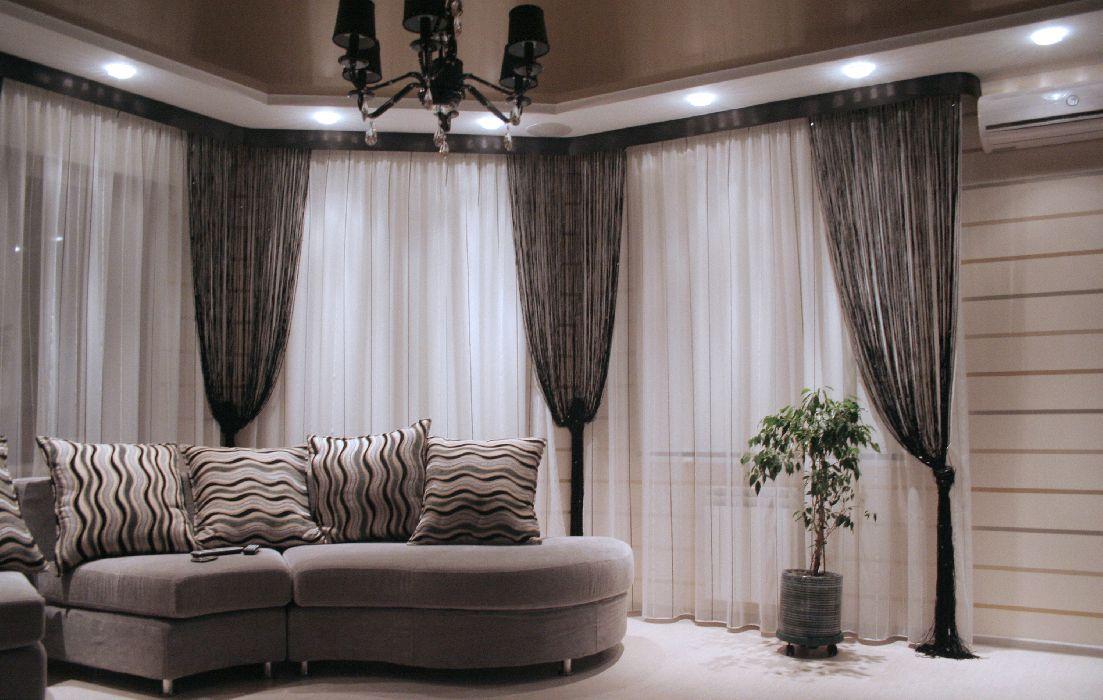 Нитяные шторы в интерьере фото