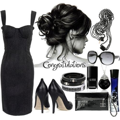 Черное маленькое платье и аксессуары к нему