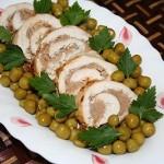Куриные рулеты с печеными овощами
