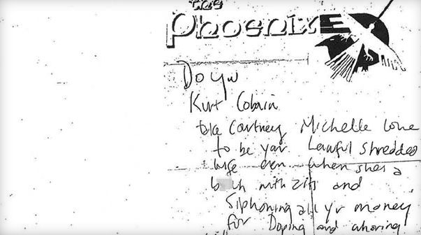 Впервые обнародована предсмертная записка Курта Кобейна