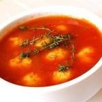 Томатный крем-суп с макаронами
