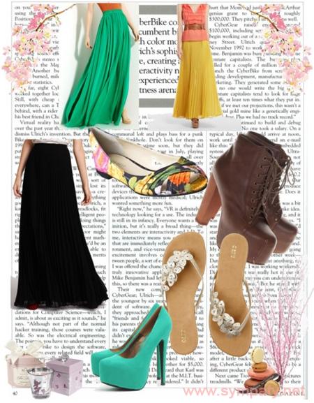 Варианты обуви под длинную юбку