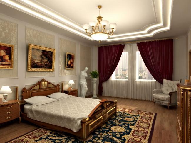 Уютный и элегантный интерьер спальни в классическом стиле