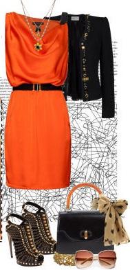 С чем носить оранжевое платье?