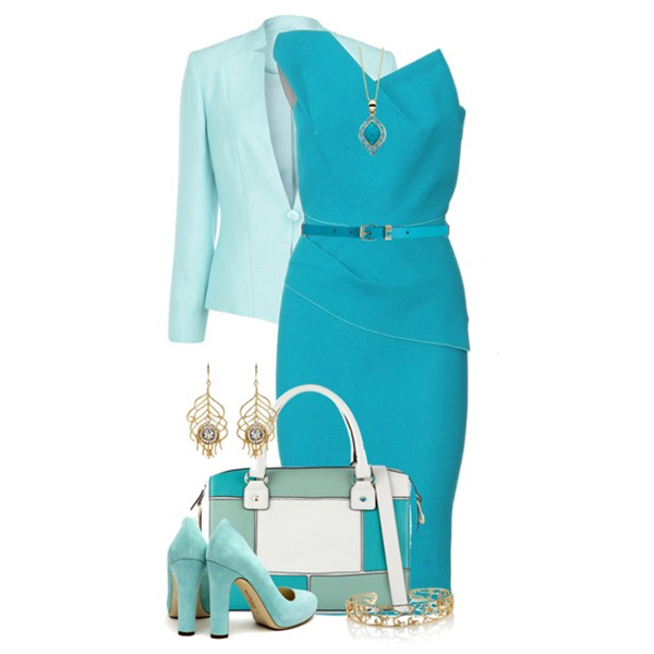 Что одеть с синим платьем