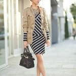 С чем носить платье в полоску? 13 фото
