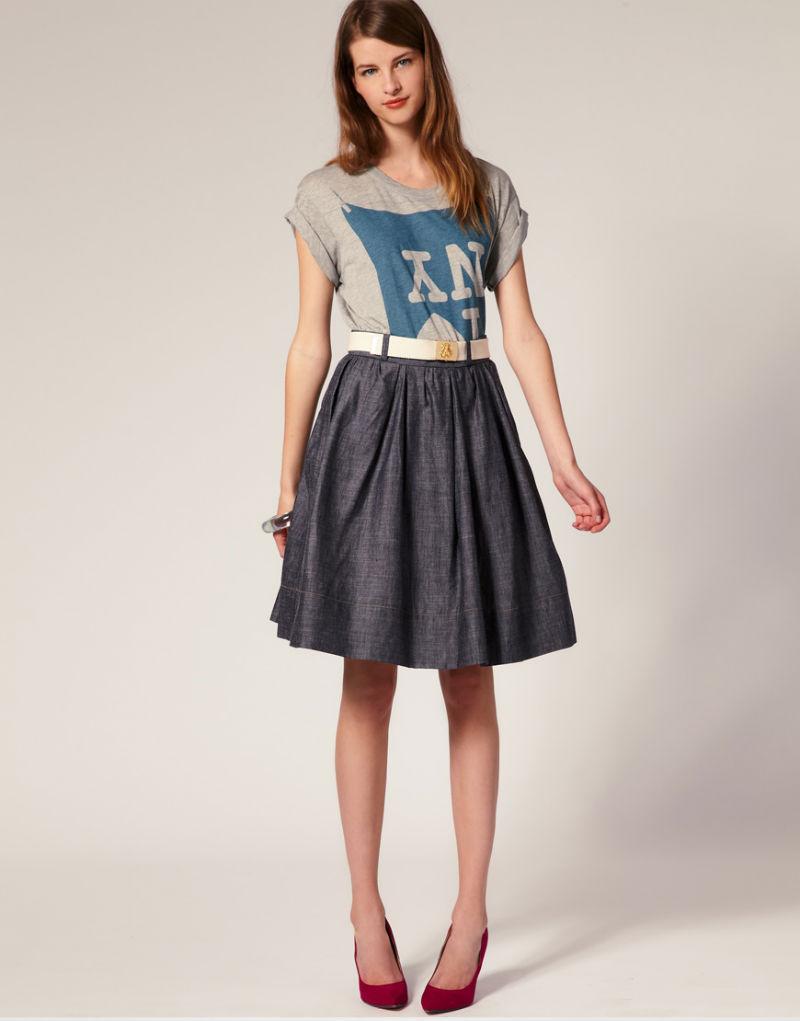 Oasap 2016 женская пышная юбка с высокой талией, длинняя, летняя в американском и европейском стиле, до колен -51278