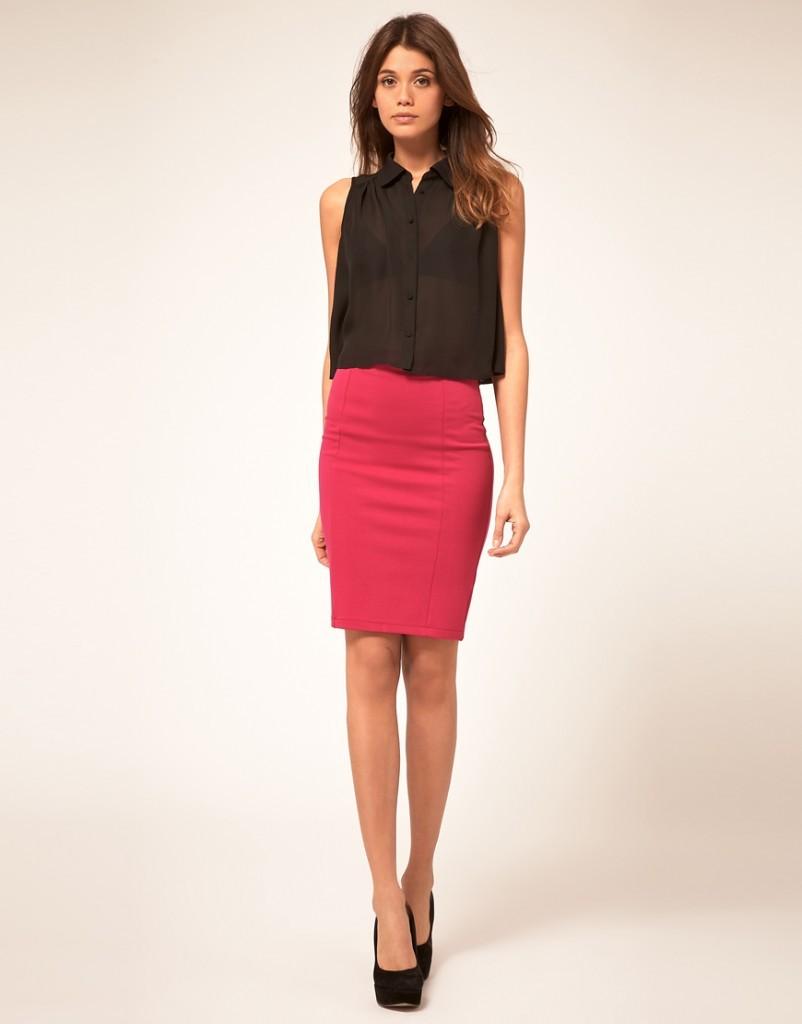 Ярко розовая юбка с чем носить
