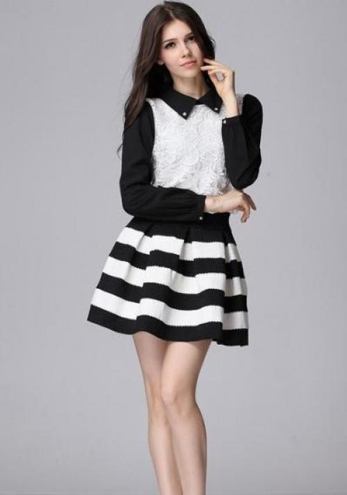 Черно белая юбка с полосами