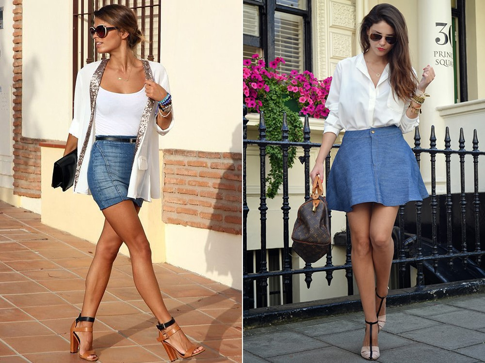 Девушки в джинсовой юбке