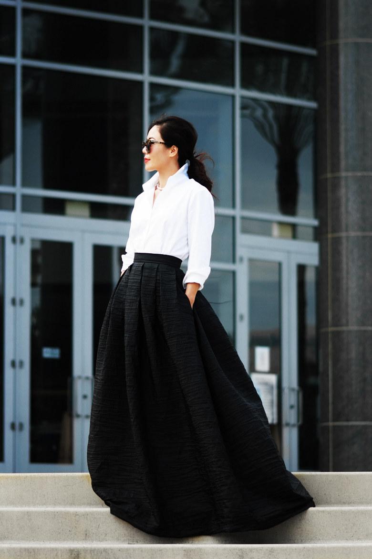 С чем носить длинную вечернюю юбку