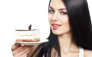 girl-brunette-piece-cake-dish-white-background-1280x800