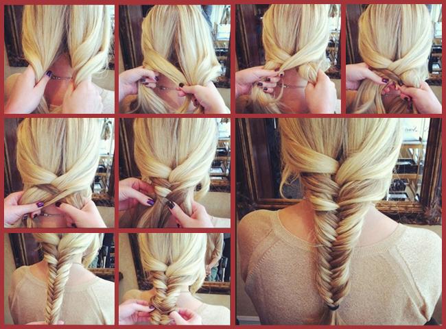 """Схема плетения косы """"Рыбий хвост"""""""