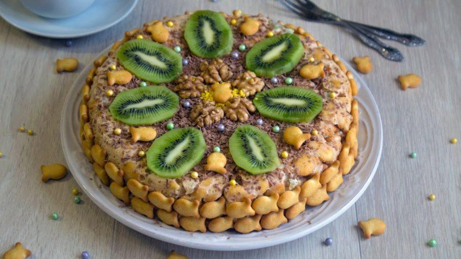 торт из печенья с киви